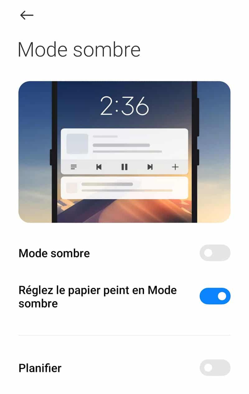 Activation mode sombre Android