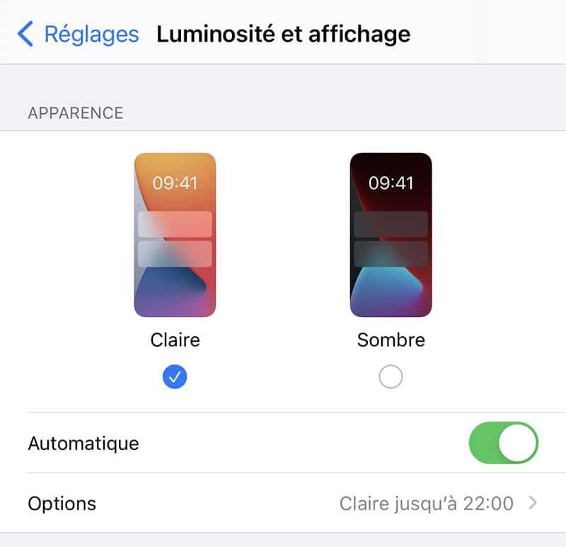 mode sombre iOS